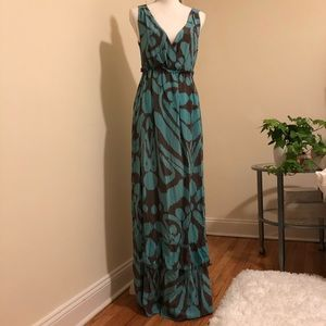 Silk V-Neck Maxi Dress